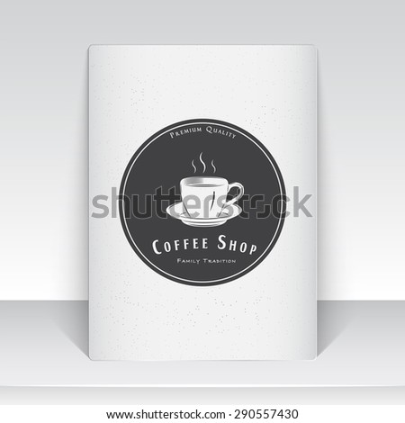 Coffee shop and cafe. The food and service. Old school of vintage label. Sheet of white paper. Monochrome typographic labels, stickers, logos and badges. Flat vector illustration