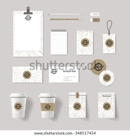 coffee shop and restaurant branding identity mock up template  . card .menu.vector.stationary.packaging, corporate identity - stock vector