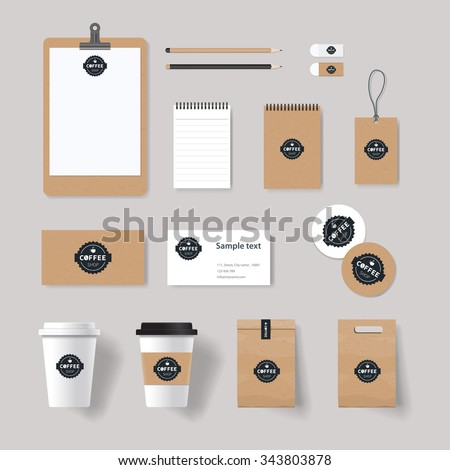 coffee shop and restaurant  branding identity mock up template for . card .menu.vector.stationary.packaging,corporate - stock vector