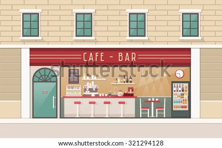 Coffee shop and snack bar interior view with counter, stools, table and freezer - stock vector