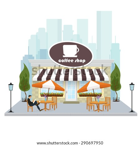 Coffee shop building facade with signboard. Vector illustration in a flat style.