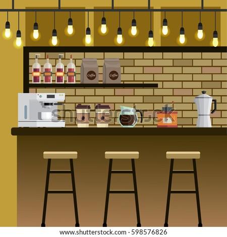 Coffee Shop Cafe Bar Interior Flat Stock Vector 598576826 Shutterstock