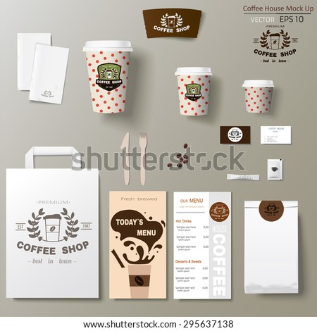 Coffee shop corporate branding identity template design set. Take away mock up
