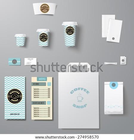 Coffee shop corporate identity template design set  - stock vector
