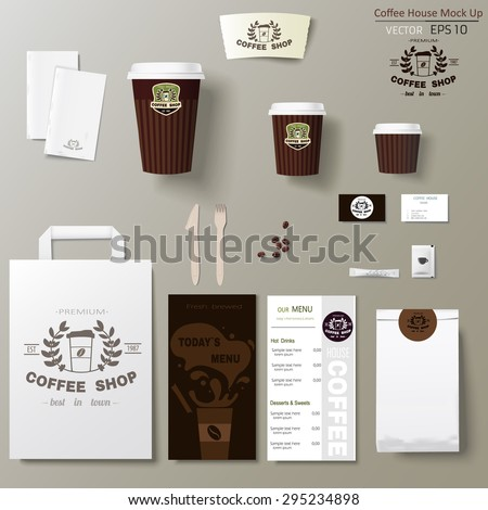 Coffee shop corporate identity template design set. Take away mock up
