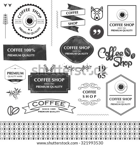 Coffee shop design elements. arrows, labels, ribbons, symbols such as logos. Editable vector illustration file. - stock vector