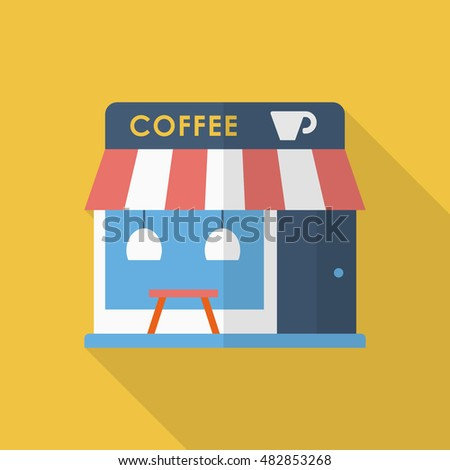 Coffee shop icon , Vector flat long shadow design.