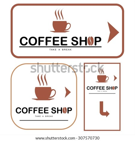 coffee shop illustration design elements vector. Design for restaurant, cafe, bar, coffeehouse. Simple flat design of cup of coffee, logotype / typography and arrow.
