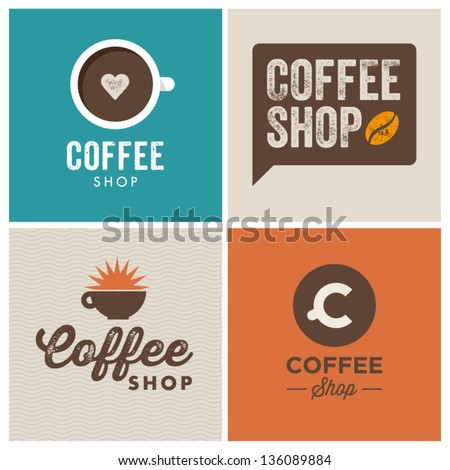 coffee shop illustration design elements vintage vector - stock vector