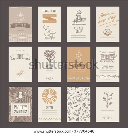 Coffee shop invitations, cafe business cards, menu pages, banners, flyers. Artistic templates collection with hand drawn design elements: hot drink, cold tea, barista, donut, beverages pattern. - stock vector