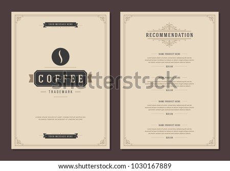 Coffee Shop Logo And Menu Design Vector Brochure Template. Coffee Bean  Silhouette.