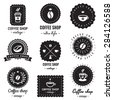 Coffee shop logo-badges vintage vector set. Hipster and retro style. Perfect for your business design.