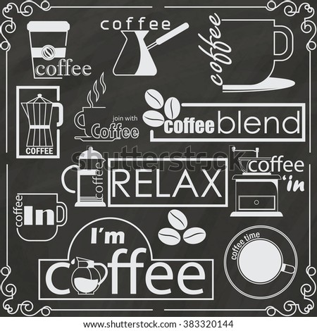 Coffee shop logo banner drawing on chalkboard in vector style - stock vector