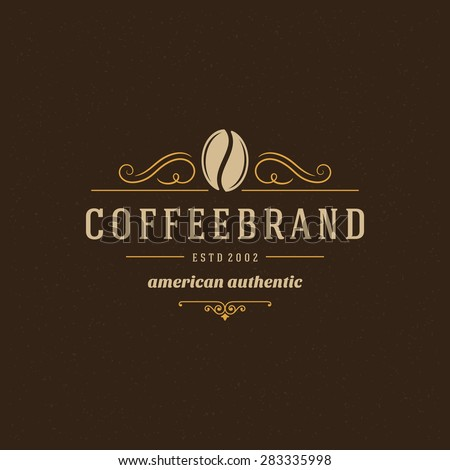 Coffee Shop Logo Design Element in Vintage Style for Logotype, Label, Badge and other design. Bean retro vector illustration. - stock vector
