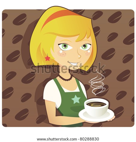 Coffee Shop or Cafe Barista with Bean Pattern Background, Stylish Vector Illustration. EPS 8. - stock vector
