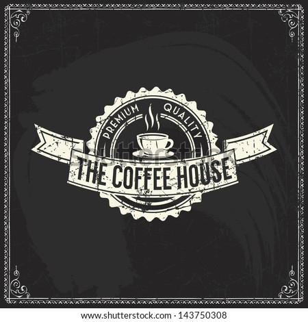 Coffee shop sketches and text symbols on a chalkboard - stock vector