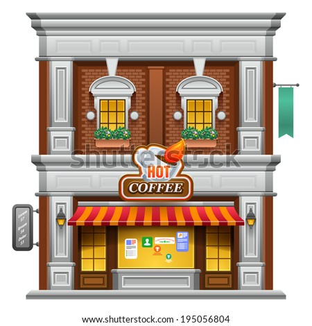 Coffee shop store or cafe. Vector illustration eps 10. - stock vector