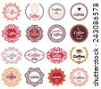 Coffee shop vector design elements in vintage style. Set of vector labels in hipster style. - stock vector