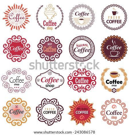 Coffee shop vector design elements in vintage style. Set of vector labels in hipster style.