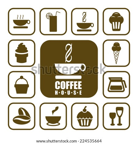 Coffee shop vector icons. - stock vector