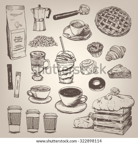 Coffee shop vintage design element - stock vector
