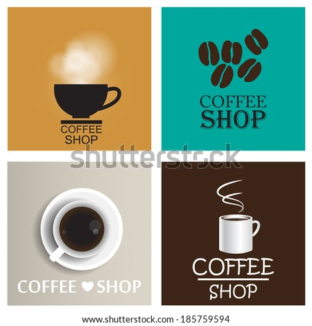 Coffee shop vintage vector set
