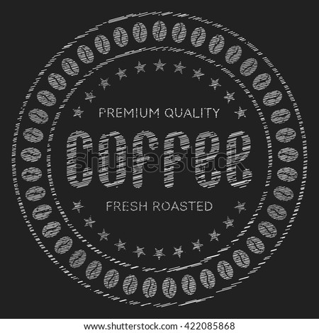 Coffee sign. The inscription coffee in chalk on a blackboard. Round stamp, label or icon coffee. Vector illustration isolated on a dark background. - stock vector