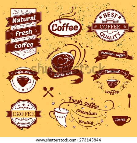 Coffee signs set, retro typography, business restaurant logos