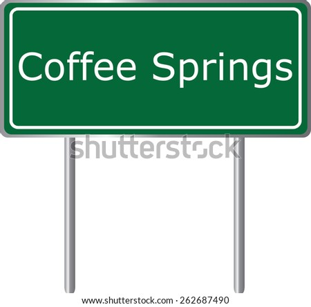 Coffee Springs, Alabama, road sign green vector illustration, road table, USA city - stock vector