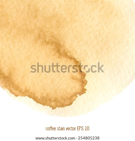Coffee stain watercolor vector.  - stock vector