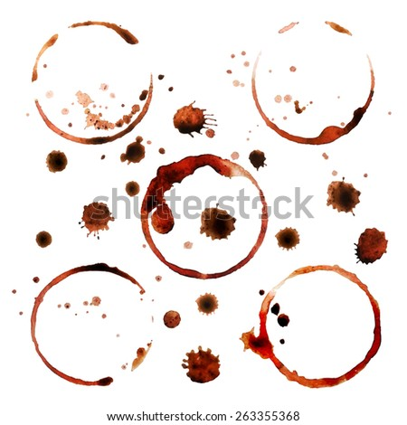 coffee stains - stock vector