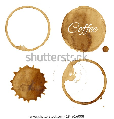 Coffee Stains Collection, Vector Illustration - stock vector