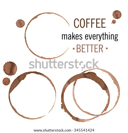 Coffee stains isolated on white, vector - stock vector