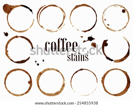 Coffee stains. Vector illustration isolated on white background - stock vector