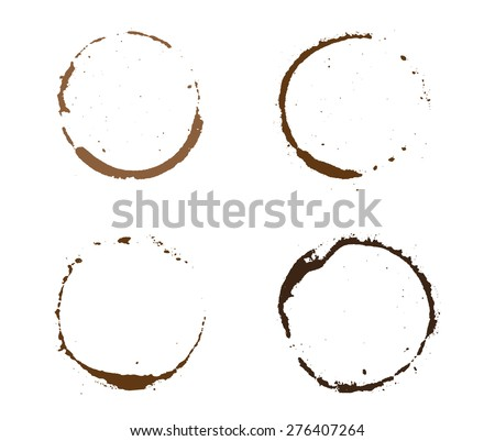 Coffee stains.Vector template. - stock vector