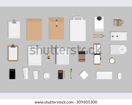 coffee-stationery-branding-mock-up for graphic designers - stock vector