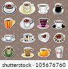 coffee stickers - stock photo