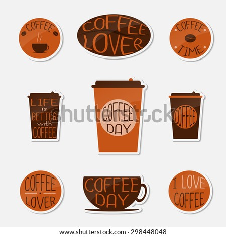 Coffee stickers set. Coffee cup,  takeaway coffee cup, coffee bean, round stickers.  - stock vector