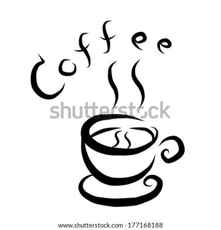 coffee symbol / cartoon vector and illustration, black and white, hand drawn, sketch style, isolated on white background.