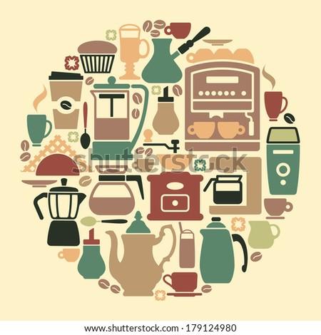 Coffee symbols - stock vector