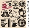 Coffee symbols and signs collection. Vector set of coffee design elements and icons. Vintage labels and badges with coffee cups and coffee beans. - stock vector