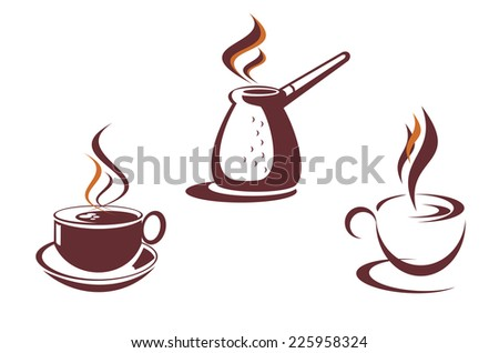 Coffee symbols for restaurant or cafe design - stock vector