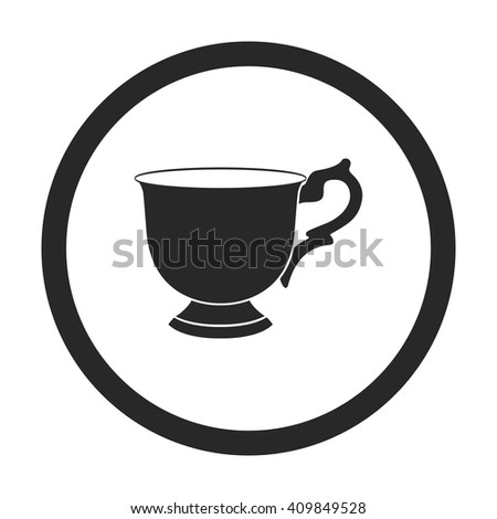 Coffee tea cup sign simple icon on background - stock vector