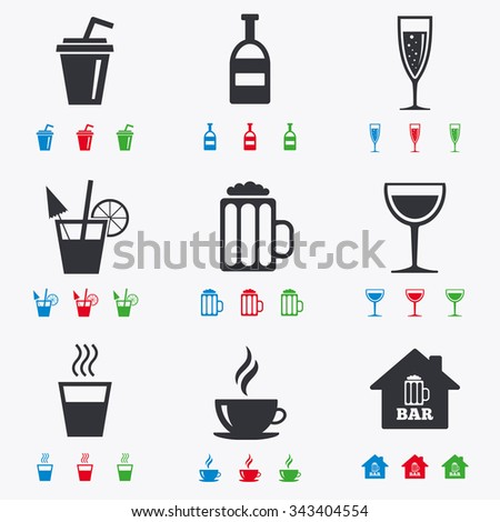 Coffee, tea icons. Beer, wine and cocktail signs. Soft and alcohol drinks symbols. Flat black, red, blue and green icons. - stock vector