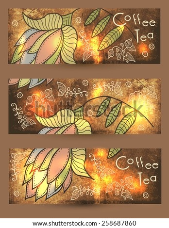 coffee. tea. set of banners - stock vector