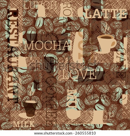 Coffee Themed Seamless Background - stock vector