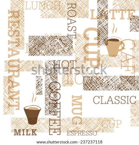 Coffee Themed Seamless Pattern - stock vector