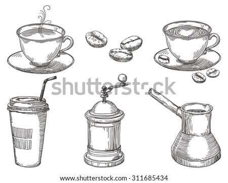 Coffee things. Vector hand drawn set of coffee at engraving style  - stock vector