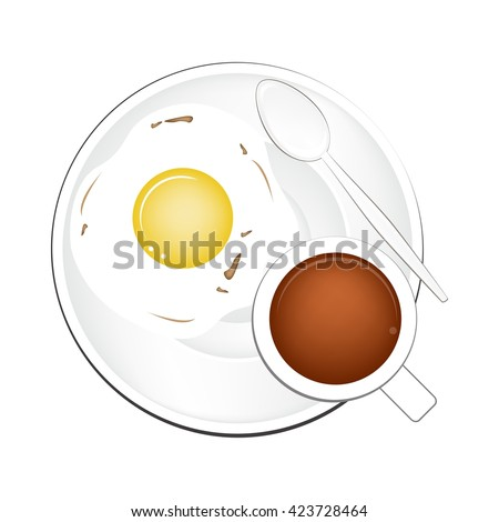 Coffee Time, A Cup of Hot Coffee Served with Breakfast Fried Egg Isolated on White Background. Top View. - stock vector