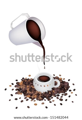 Coffee Time, A White Measure Cup Pour A Cup of Hot Coffee with Roasted Coffee Bean Isolated on White Background  - stock vector